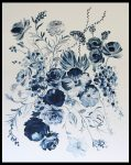 Original Floral Design Paintings; Flowers in Blue