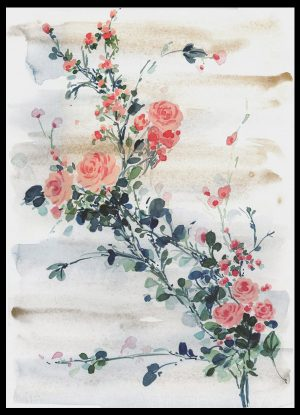 Original Floral Design Paintings; Intertwined Roses
