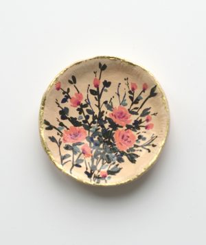 Floral Design Trinket Dish; Peach