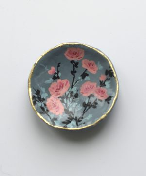 Floral Design Trinket Dish; Grey