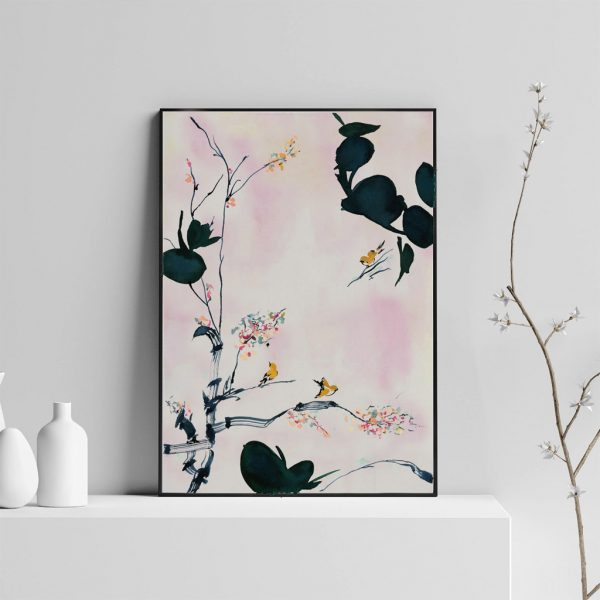 Floral Print; Branches, Birds, and Blossom