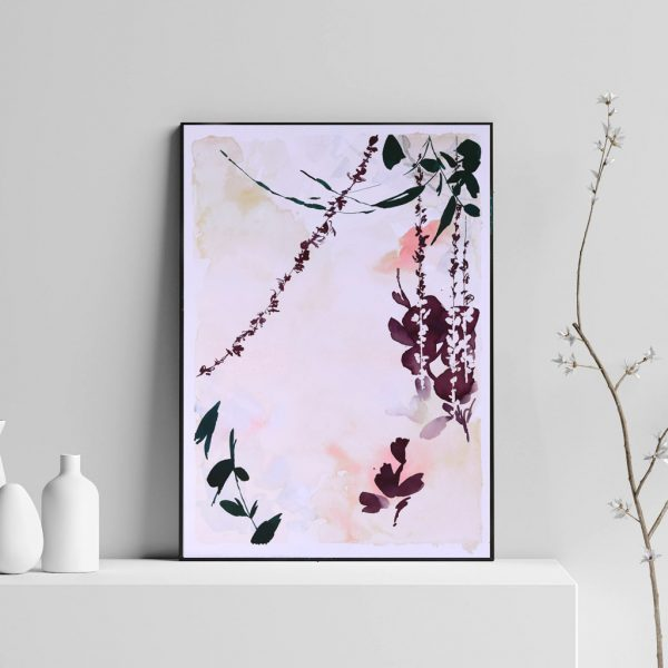 Floral Print; Abstract Light Purple Background