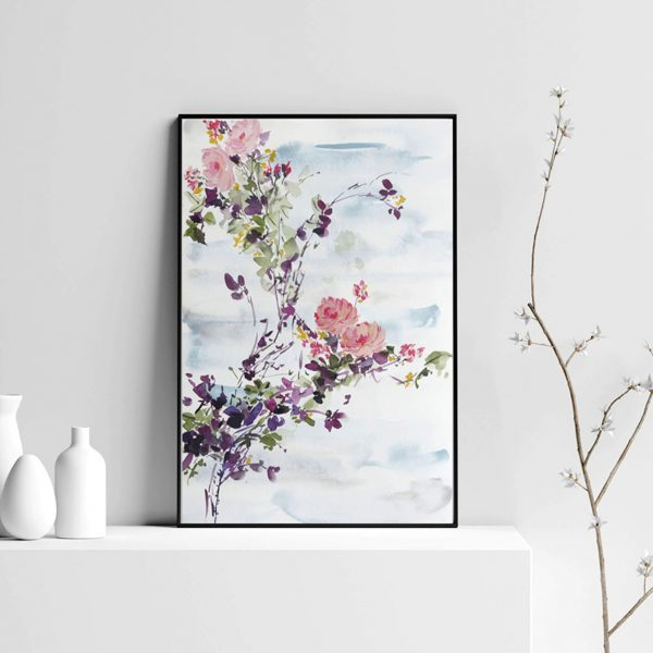 Floral Print; Pink and Blue/Grey