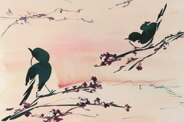 Floral Mural; Birds in the Sunset (slide 1)