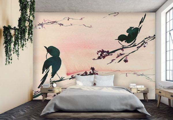 Floral Mural; Birds in the Sunset