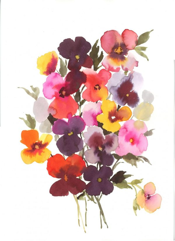 Original Floral Painting; Bouquet of Pansies
