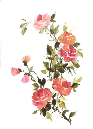 Original Floral Painting; Dusty Pink Roses