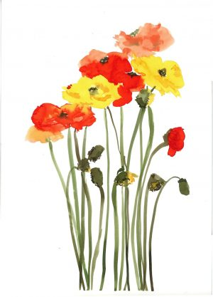 Original Floral Painting; Happy Poppies