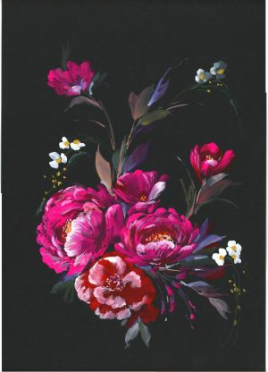 Original Floral Painting; Midnight Floral