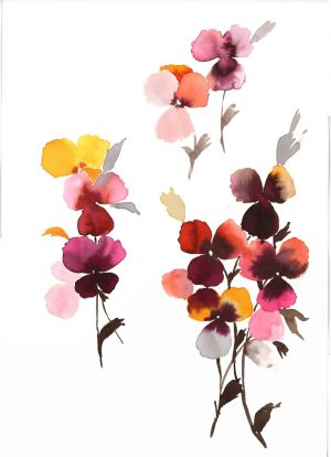 Original Floral Painting; Pansies 2