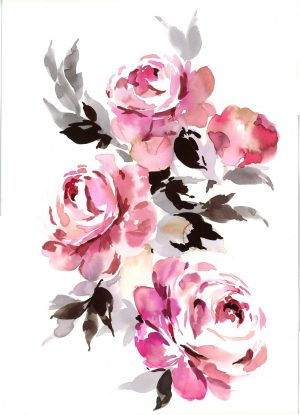 Original Floral Painting; Peonies with Black