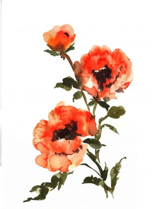 Original Floral Painting; Poppies