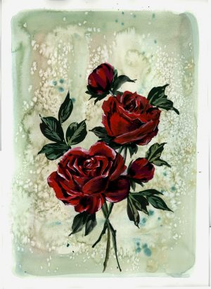 Original Floral Painting; Vintage-Style Red Roses