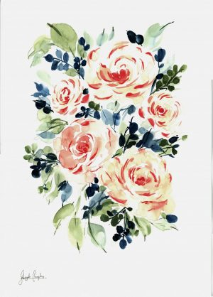 Original Floral Painting; Watercolour Vintage-Style Roses
