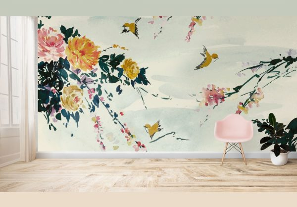 Floral Mural; Large Peonies, Cherry Blossom, and Birds