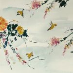 Floral Mural; Large Peonies, Cherry Blossom, and Birds (slide 1)
